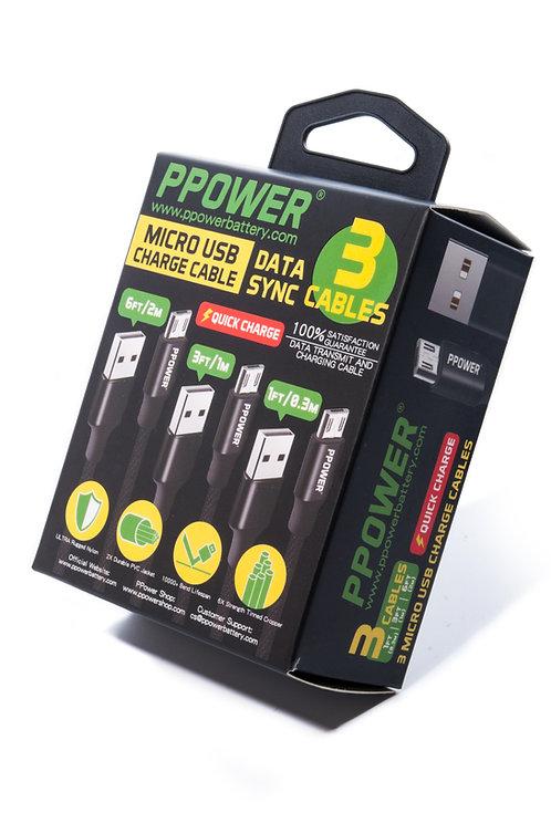 Ppower - Micro-USB充電線組合 (共3條, 0.3M + 1M + 2M)