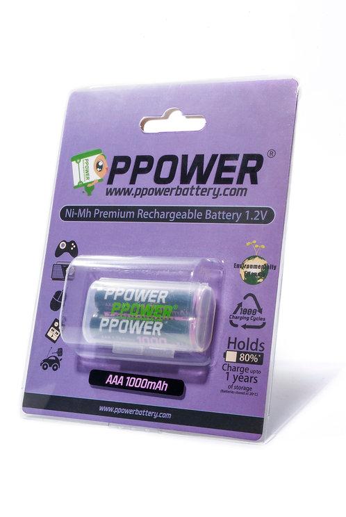 PPOWER 進階版1000mAh AAA鎳氫可充電電池