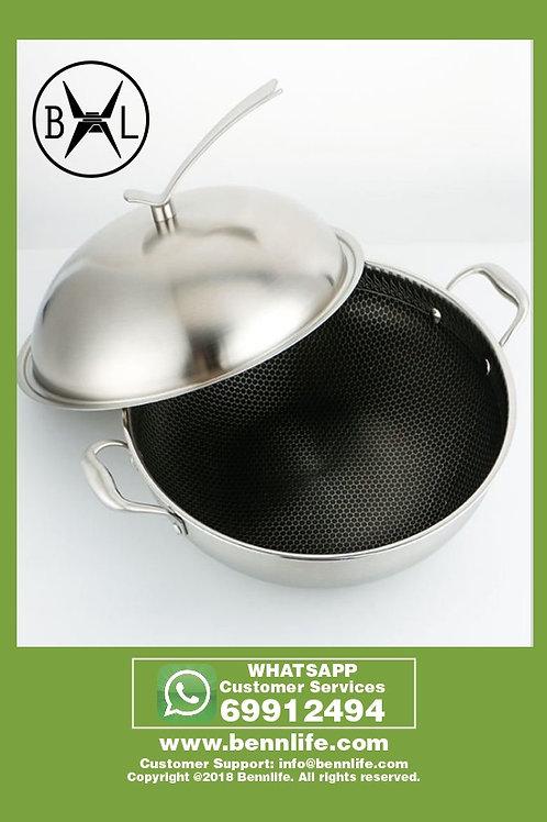 Bennlife 賓尼生活 304不銹鋼全屏雙耳炒鍋 易潔鑊不粘鍋(34cm)連蓋 單面