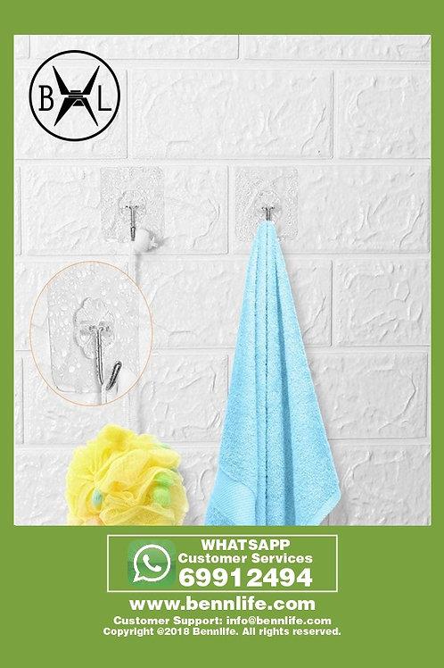 Bennlife賓尼生活 浴室強力粘膠掛鉤無痕透明掛鉤免釘貼衣服魔力粘鉤子 (2個)
