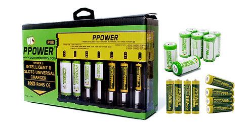 Ppower - 智能萬用八充充電器 (PII8)+8x CR123充電鋰電池+4x AA鎳氫充電池+4x AAA 鎳氫充電池