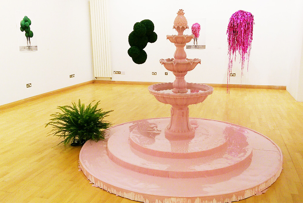 Pink rubber fountain and sculptures by Robbins and Roberts