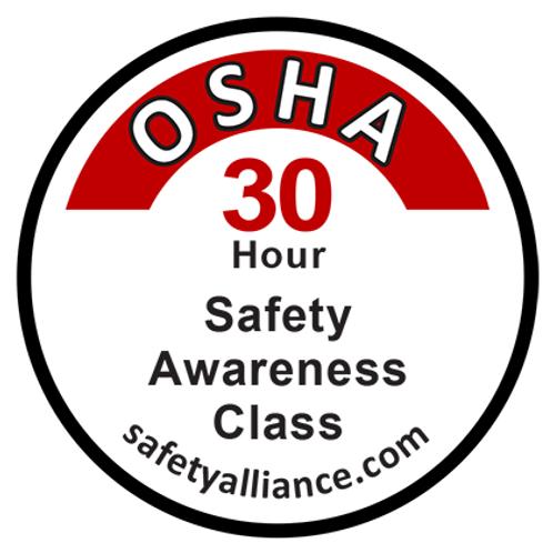 OSHA-30 Class completion sticker