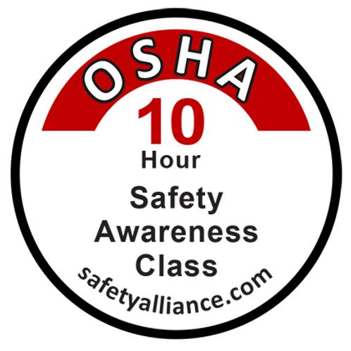 OSHA-10 Class completion sticker
