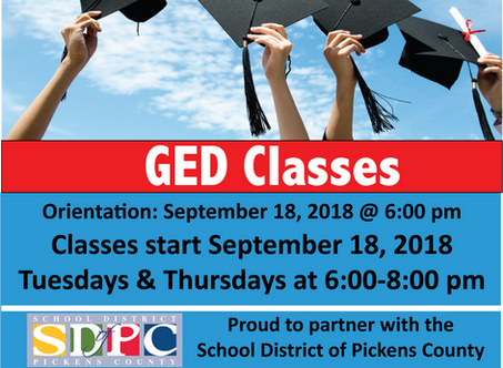 GED Classes for 2018-2019