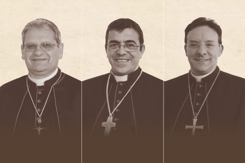 Da esquerda para a direita: Dom Adilson Pedro Busin), Dom Aparecido Donizeti de Souza e Dom Leomar Antônio Brustolin