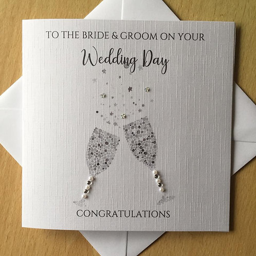 Wedding Day Congratulations Card - Champagne Glasses