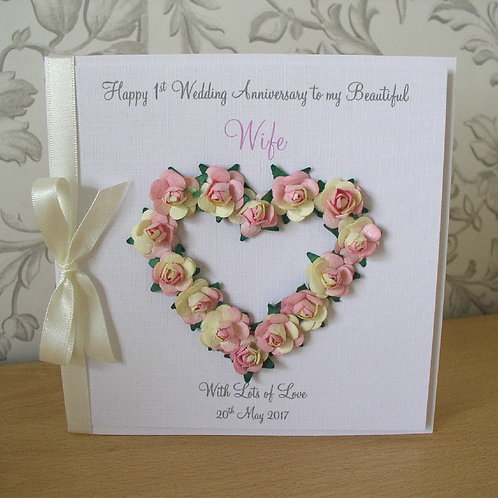 First Wedding Anniversary Card - 1 Year - Open Rose Heart