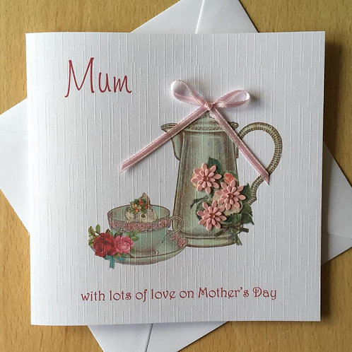 Handmade Mother's Day Card - Coffee Pot