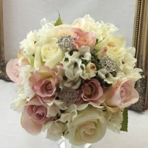 Wedding Bouquet - Vintage Rosa - Silk Rose, Peony & Hydrangea - Medium