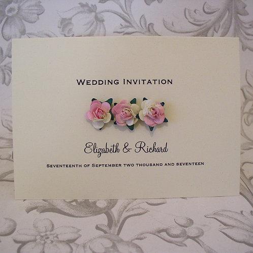 Wedding Invitation - Three Paper Roses - C6