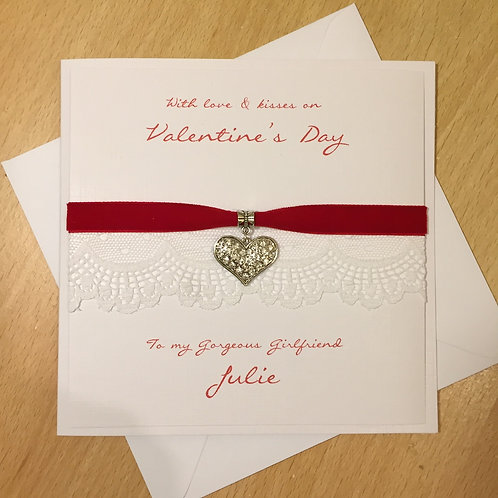 Valentine's Day Card - Luxury Diamante Heart Charm with Lace and Velvet Ribbon