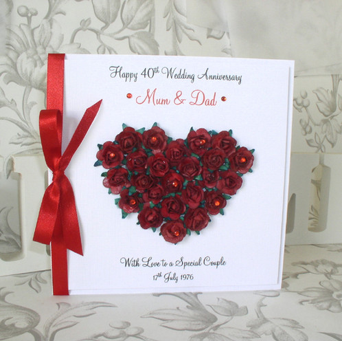 Ruby Wedding Anniversary Card   Rose Heart