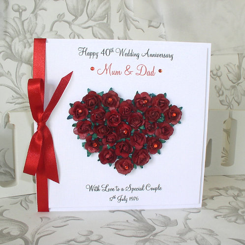 Ruby Wedding Anniversary Card - Rose Heart