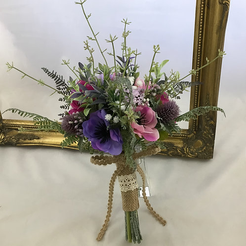 Wedding Bouquet - Lillie - Anemone & Foliage - Small