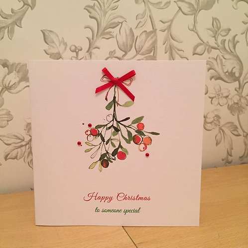 Mistletoe Christmas Card - Handmade, Personalised