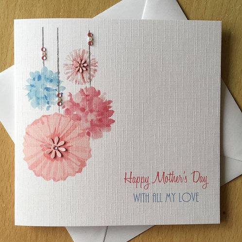 Handmade Mother's Day Card - Pink Pompoms