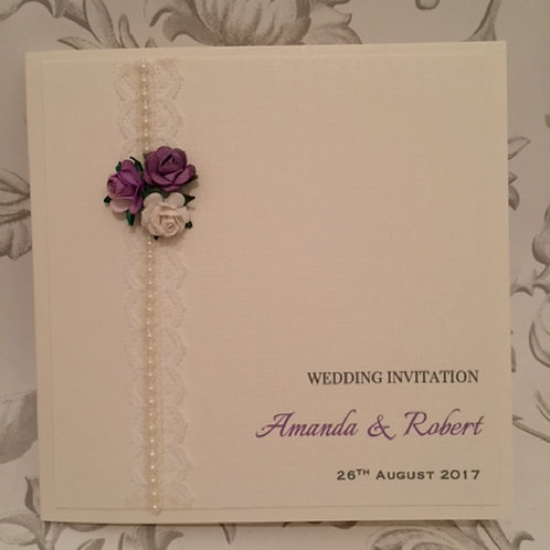 Wedding Invitation - Lace, Pearls & Roses