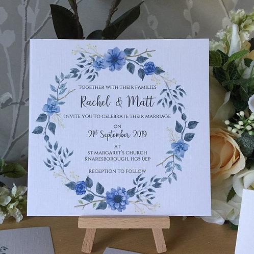 Blue Floral Wedding Invitation - Handmade, Personalised - 15cm