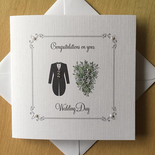 Wedding Day Congratulations Card - Bouquet & Tailcoat
