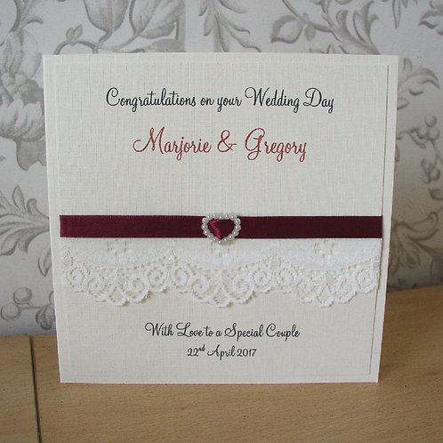 Pearl Heart Wedding Congratulations Card