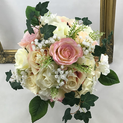 Wedding Bouquet - Julia - Silk Rose, Gypsophilia & Ivy