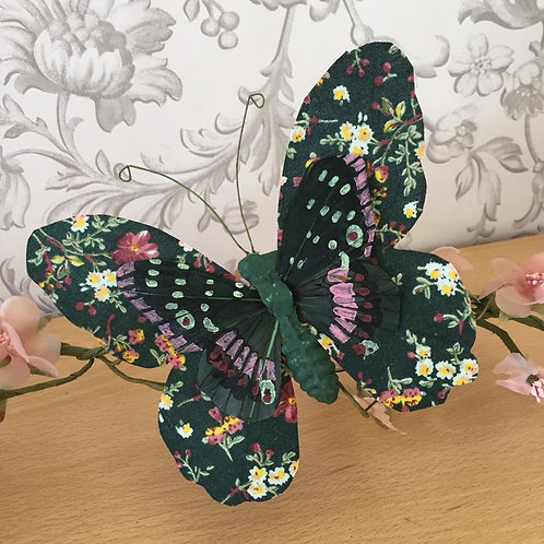 Artificial Butterfly - Vintage Green - Fabric & Feather - 15cm