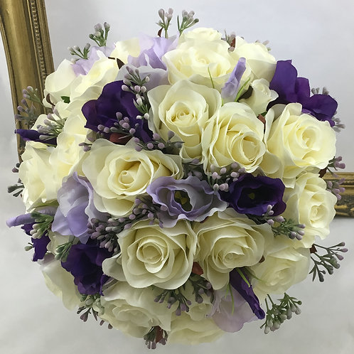 Wedding Bouquet - Florence - Silk Rose, Lysianthus & Berries
