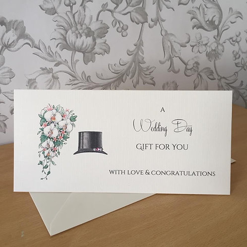 Top Hat & Bouquet - Wedding Day Gift / Money Wallet