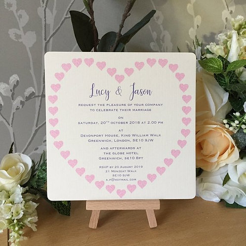 Heart of Hearts Single Sided Wedding Invitation - Handmade, Personalised - 15cm