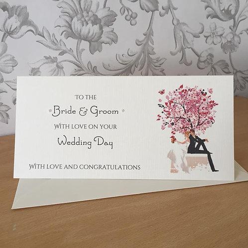 Wedding Day Gift / Money Wallet - Wedding Tree - Pink