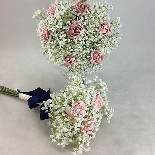 Wedding Bouquet - Amelia - Colourfast Roses & Gypsophilia - Medium