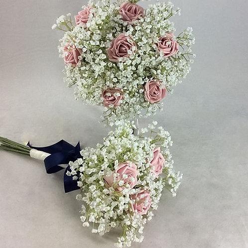 Wedding Bouquet - Amelia - Colourfast Roses & Gypsophilia