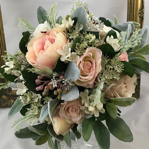 Wedding Bouquet - Charlotte - Silk Rose, Peony, Berry & Foliage