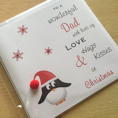 Christmas Card - Penguin & Snowflakes - Personalised
