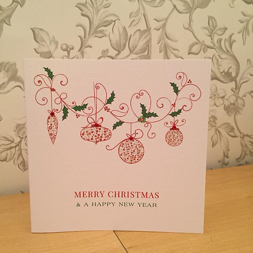 Holly Garland & Baubles - Personalised Handmade Christmas Card