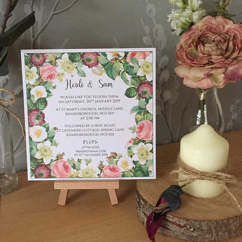 Rose Frame Wedding Invitation - Handmade, Personalised - 15cm