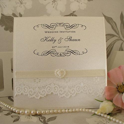 Wedding Invitation - Pearl Heart