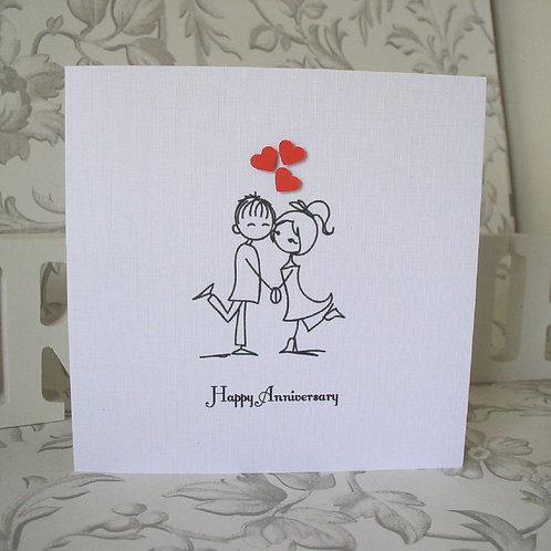 Wedding Anniversary Card - Couple & Red Hearts