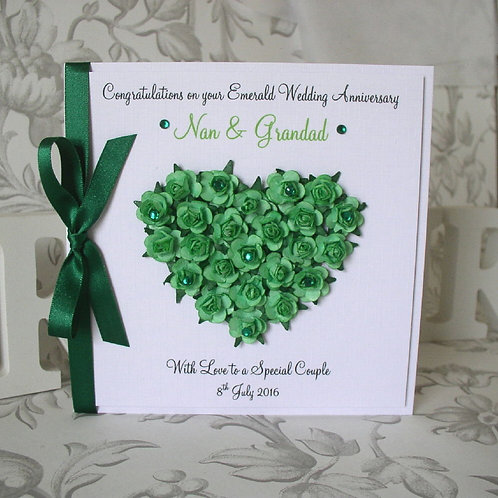 Emerald Wedding Anniversary Card - 55 Years - Rose Heart
