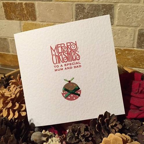 Christmas Pudding Christmas Card - Personalised
