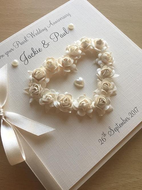 Pearl Wedding Anniversary Card - Open Rose Heart
