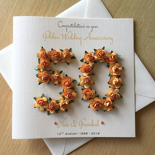 Golden Wedding Anniversary Card - 50 Years - Rose Numbers