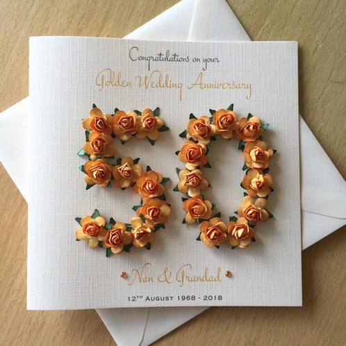 golden wedding anniversary card 50 years rose numbers