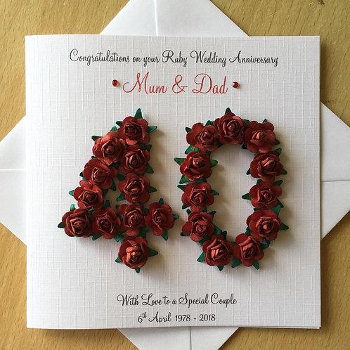 Ruby Wedding Anniversary Card - 40 Years - Rose Numbers