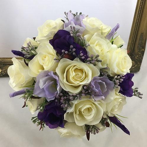 Wedding Bouquet - Florence - Silk Rose, Lysianthus & Berries - Medium