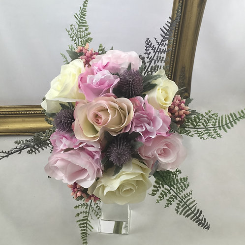 Wedding Bouquet - Grace - Silk Roses & Thistle - Medium