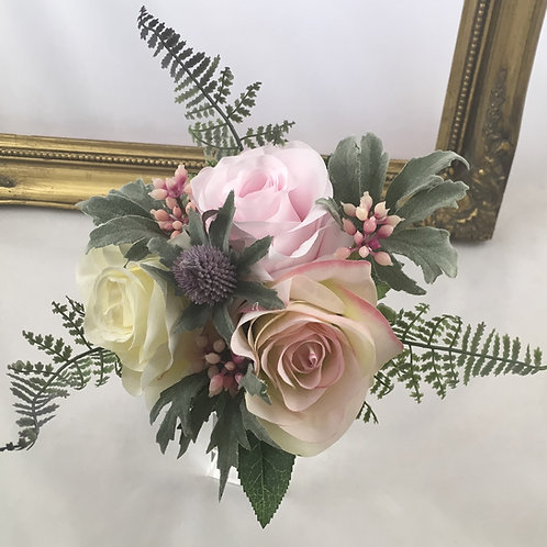 Wedding Bouquet - Grace - Silk Roses & Thistle - Small