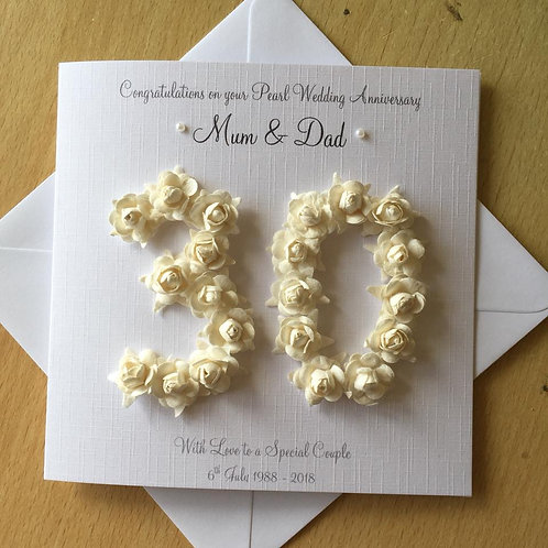 Pearl Wedding Anniversary Card - 30 Years - Rose Numbers