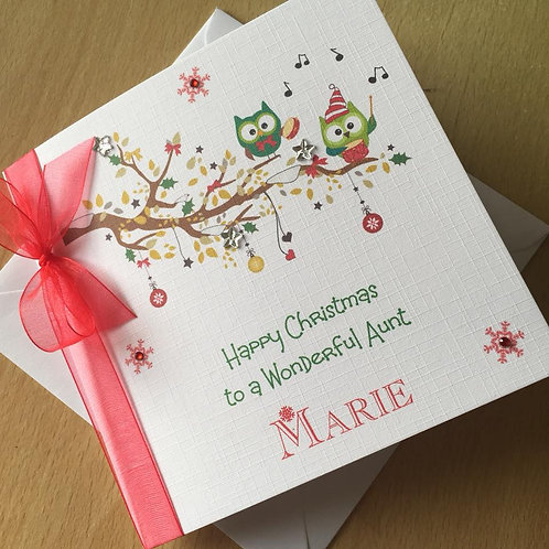 Handmade Christmas Card - Musical Owls - Personalised